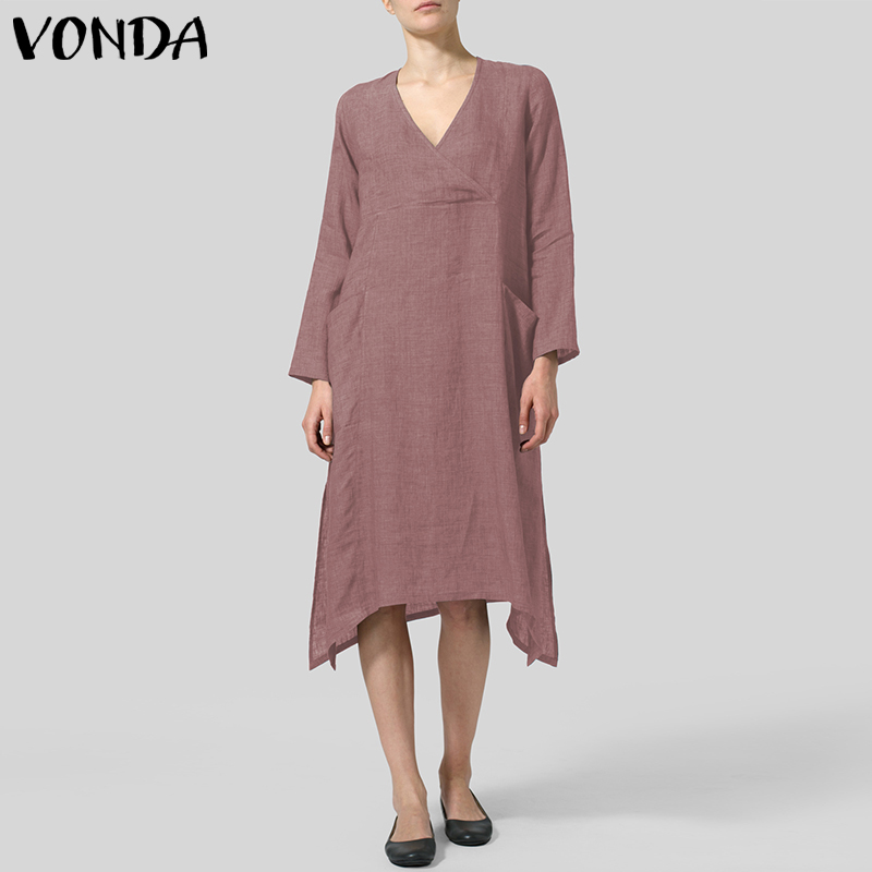 Women Dress 2019 VONDA Sexy V Neck Long Sleeve Pockets Vintage Midi Dresses Casual Loose Irregular Hem Vestidos Plus Size