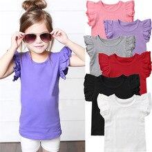 Новинка года; Летняя Детская Хлопковая футболка с короткими рукавами и оборками для маленьких девочек; топы ярких цветов; детская футболка для девочек; одежда; От 0 до 6 лет