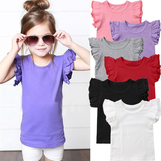 New 2019 Summer Toddler Children Girl Ruffles Short Sleeve Cotton Tee Tops Candy Color Kids Girl T-shirt Clothes 0-6 Years