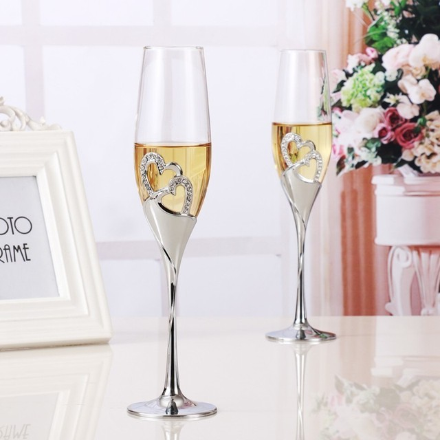 55c7b492d6ba 2 PCS  Set Crystal Wedding Toasting Champagne Flutes Glasses Silver-plate  Drink Cup Marriage Wine Decoration Cups For Parties