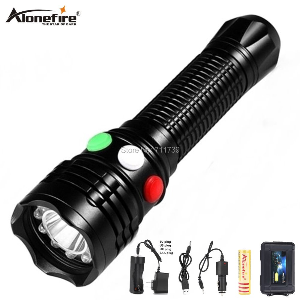 AloneFire RX1 Q5 LED Railway Signal Light flashlight Red white green 18650 rechargeable USB charge Outdoor Emergency flash light