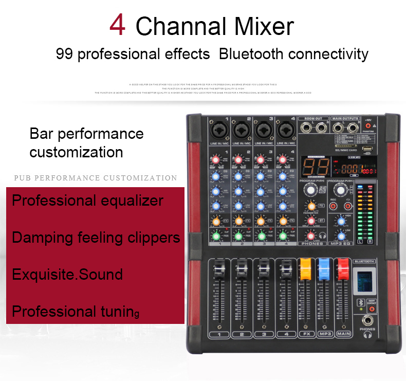 LEORY 4 Channel Bluetooth Mixer Microphone Karaoke 99 DSP KTV Live USB Console Mixing Amplifier 48 phantom power Professional