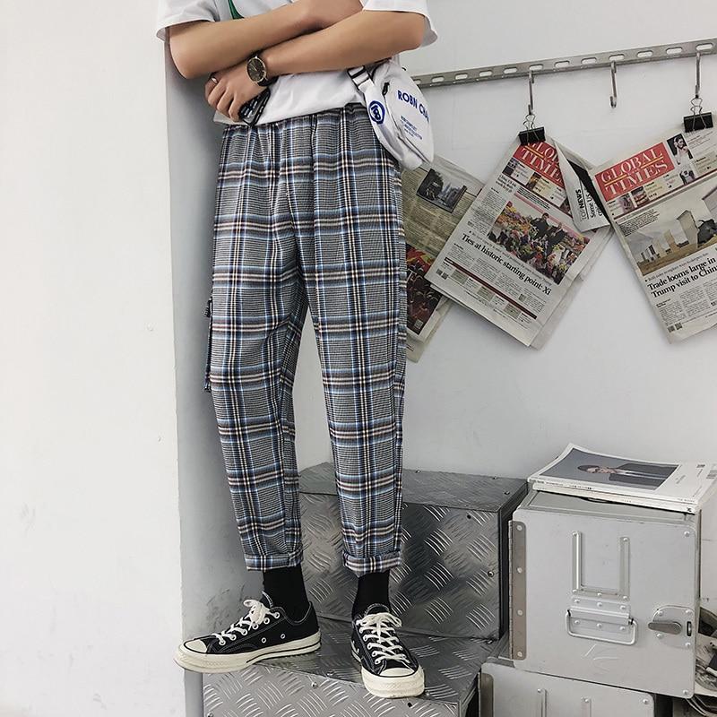 Babykleidung Jungen 2019 Frühling Mode Männer Casual Plaid Tasche Baumwolle Jogginghose Freizeit Gitter Knöchel Banded Gebunden Füße Hosen Plus Größe M-5xl