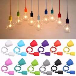 Smuxi E27 E26 цоколем основы Светильник Висячие линии красочные силиконовой резины потолок подвесной светильник основание светильника