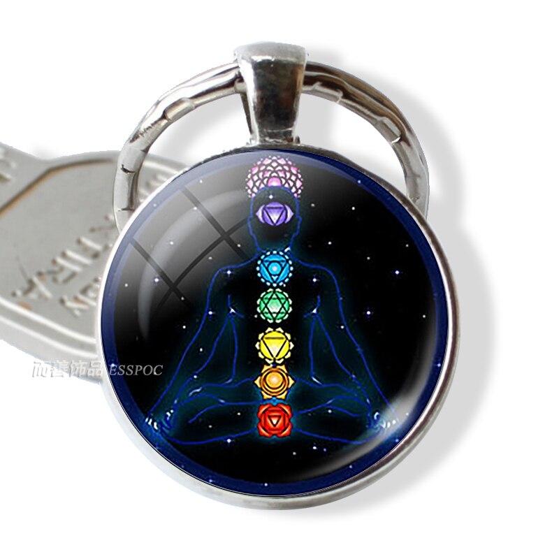 7 Chakra Yoga Om Symbol Keychain Pendant Men Women Vintage Car Key Chain Key Rings Indian Meditation Jewelry