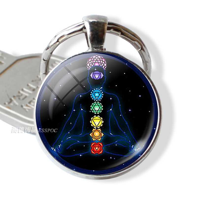 7 Чакра Йога символ ом брелок кулон для мужчин женщин Винтаж ключи кольца Индийский ювелирные изделия для медитации