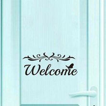 Letter Sign Welcome Wall Stickers Removable Self-Adhesive Decor Creative Pattern Wall Decals Door Stickers removable deer pattern christmas showcase wall stickers
