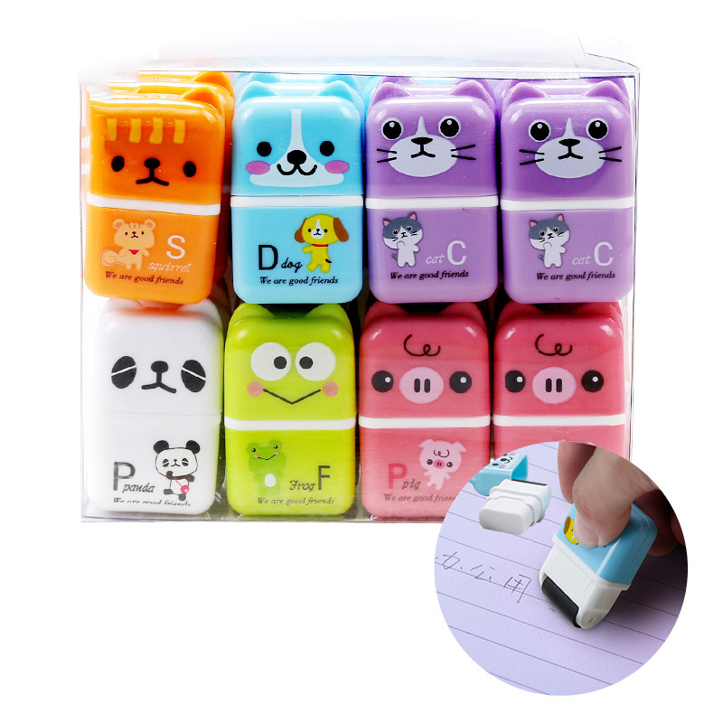 1PC Creative Cartoon Roller Eraser Kawaii Cats Rubber Erasers For Girls Gifts Office School Supplies Correction Tools Stationery