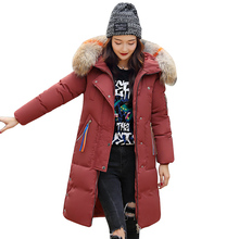 Large Fur Collar Hooded Cotton Padded Long Coat Women Winter Parka Thicken Warm Jacket Female Plus Size 3XL Knee-Length ls73