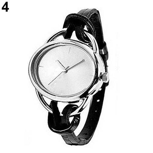 Women\'s Fashion Oval Slim Faux Leather Band Analog Quartz Bracelet Wrist Watches Gift