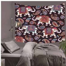 Elephant Tapestry Colored Printed Decorative Mandala Indian 130cmx150cm 150x170cm  Boho Wall Carpet LZT14