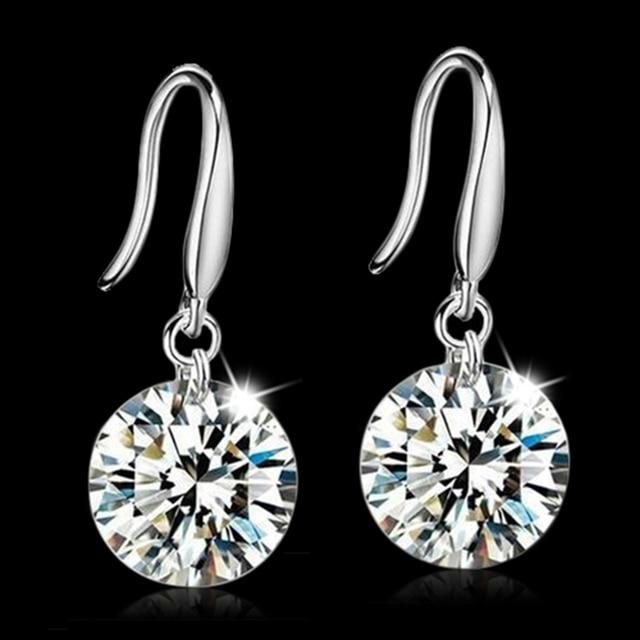 Real 925 Sterling-Silver-Jewelry Drop Earrings for Women Bridal Wedding  Fashion Jewelry Cubic Zirconia Dangle Earrings 878b8f3f821b