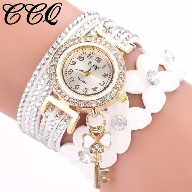 Best Selling Fashion Women Rhinestone Bracelet Watch Luxury Leather Flower Cryst