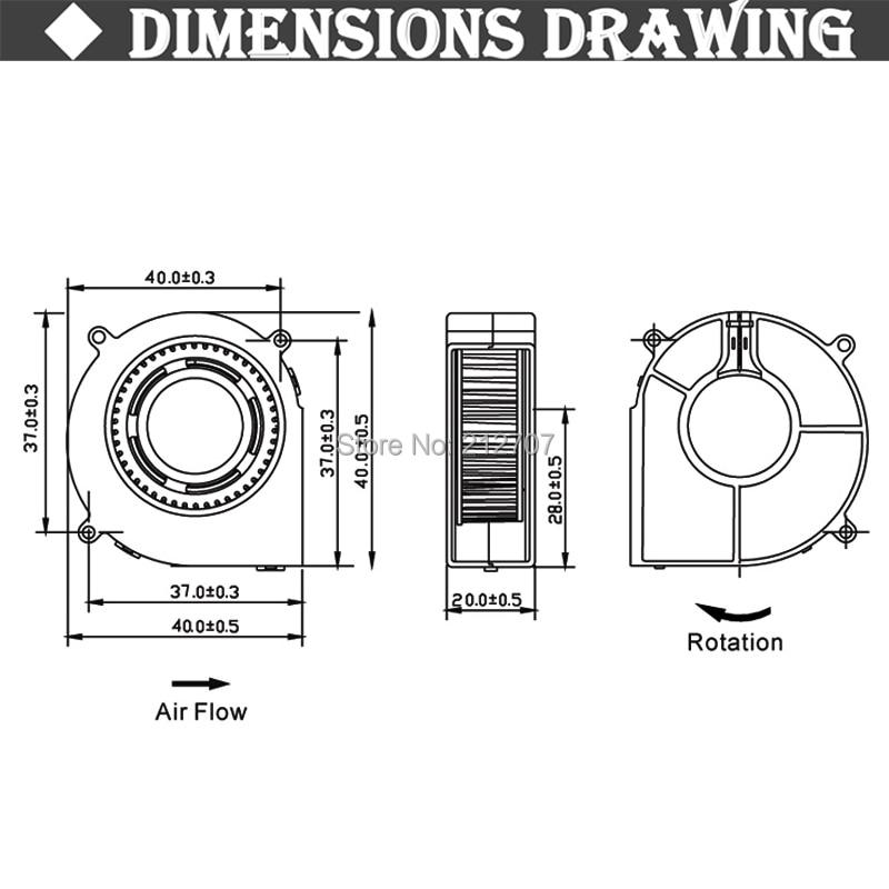 Купить с кэшбэком Gdstime 4020 Turbo Blower Cooling Fan 12V 40mm x40mmx20mm Ball Bearing 100cm Wires for 3D Printer