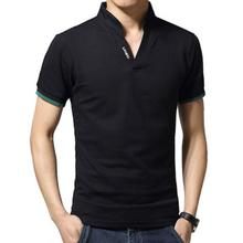 ZACOO Men Casual Solid Color Cuff Stripe Pattern Standing Collar Shirt