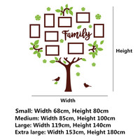 3D Arcylic DIY Family Tree Wall Sticker Home Decor Photo Frame Living Room Bedroom Art Picture Frame Wall Decals Poster Photo