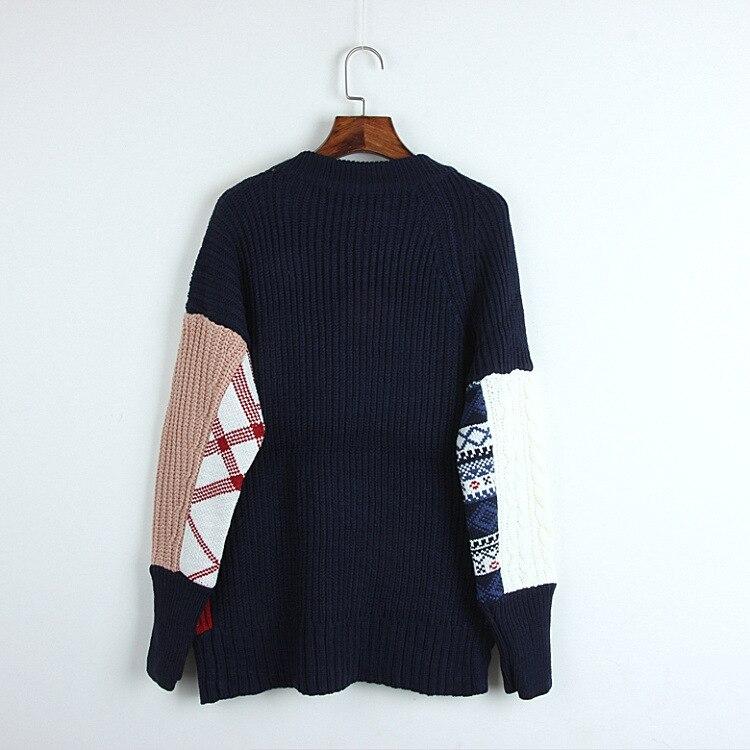 La Nouvelle Femmes Tricot Polychrome Sweater Chandails Haute Garder Qualité Hiver Split Automne Pull 2018 Mode Jacket Chandail Manchette Couleur tqwgz1