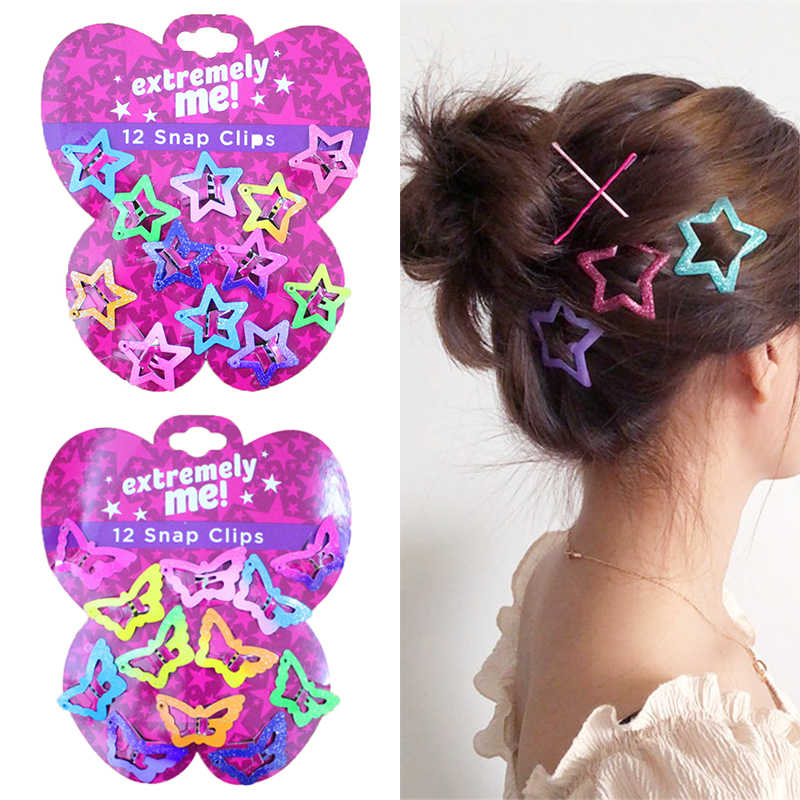 Beautiful Kids Pentagram Hair Clips Glitter BB Clips Buterfly Colors 12PCS/Set Children Asymptotic color Candy Color Star Girls