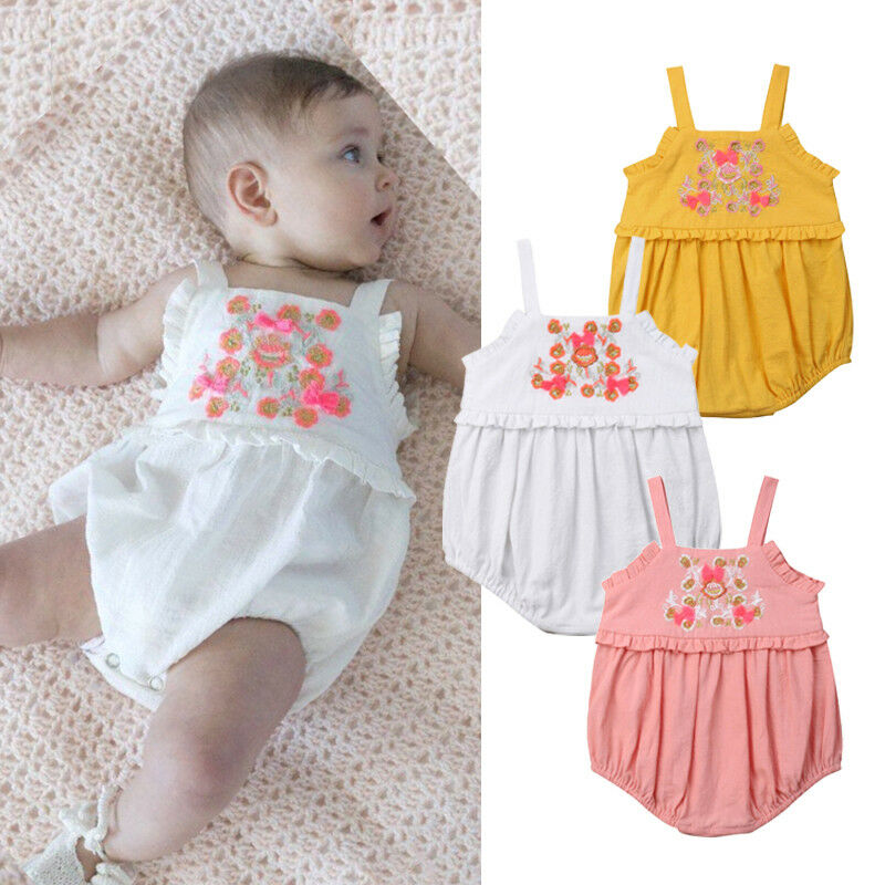 Cute Newborn Baby Girl Embroidery Flower Strap   Romper   Jumpsuit Outfits Summer Sunsuit Clothes