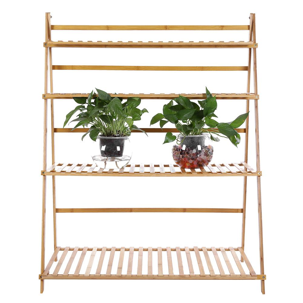 US $91 3 19% OFF|4 Tiers 3 3ft Width Plant Rack Thickened Solid Support  Alpine Bamboo Foldable Plant Stand-in Storage Holders & Racks from Home &