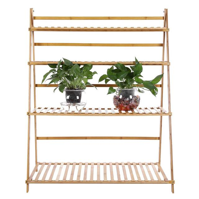 US $98 07 13% OFF|4 Tiers 3 3ft Width Plant Rack Thickened Solid Support  Alpine Bamboo Foldable Plant Stand-in Storage Holders & Racks from Home &