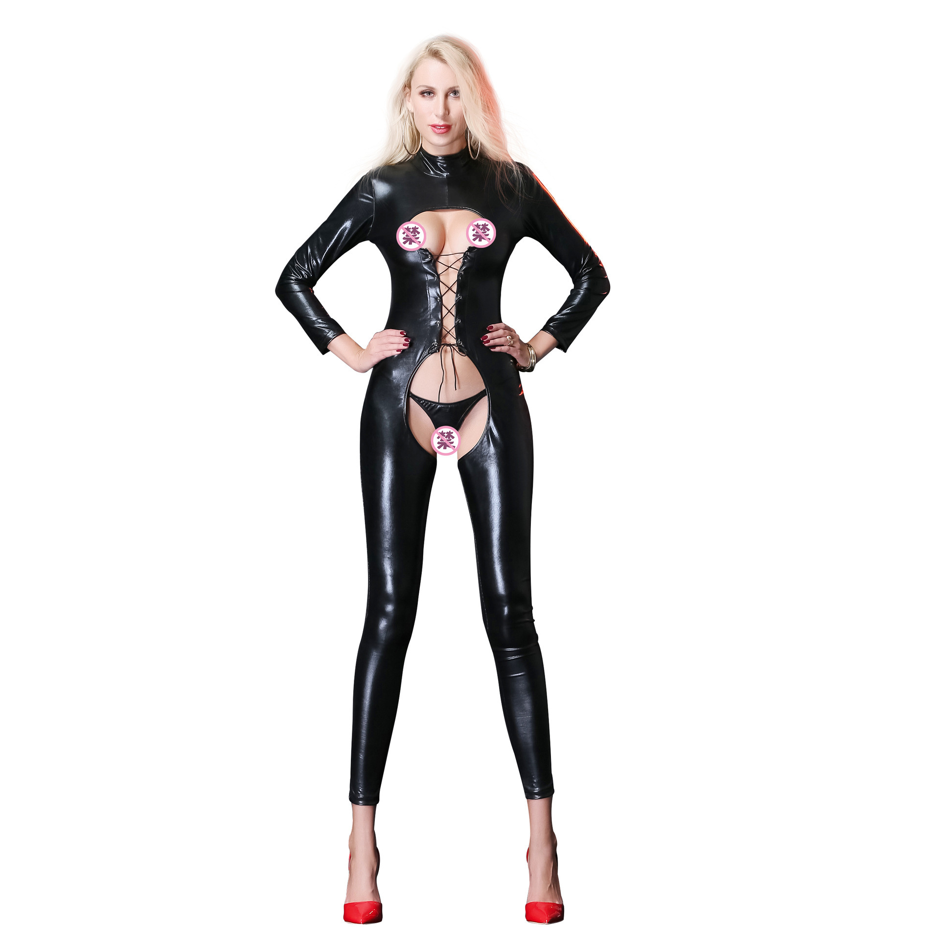 Plus Size M XL XXL  Leather Gothic wetlook Bodysuit Jumpsuit PVC Clubwear COSTUME