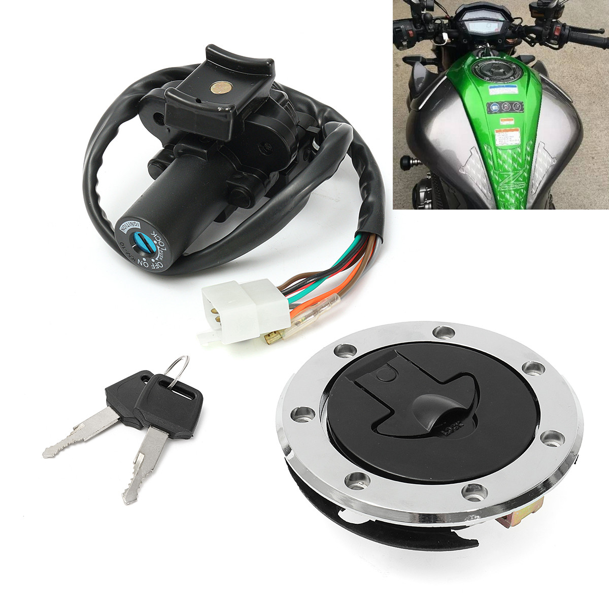 High Quality Motorcycle Ignition Switch Plane With Fuel Gas Lock Cap Cover Lock Key For Kawasaki ZX7R ZX9R ZXR750 ZX900 New