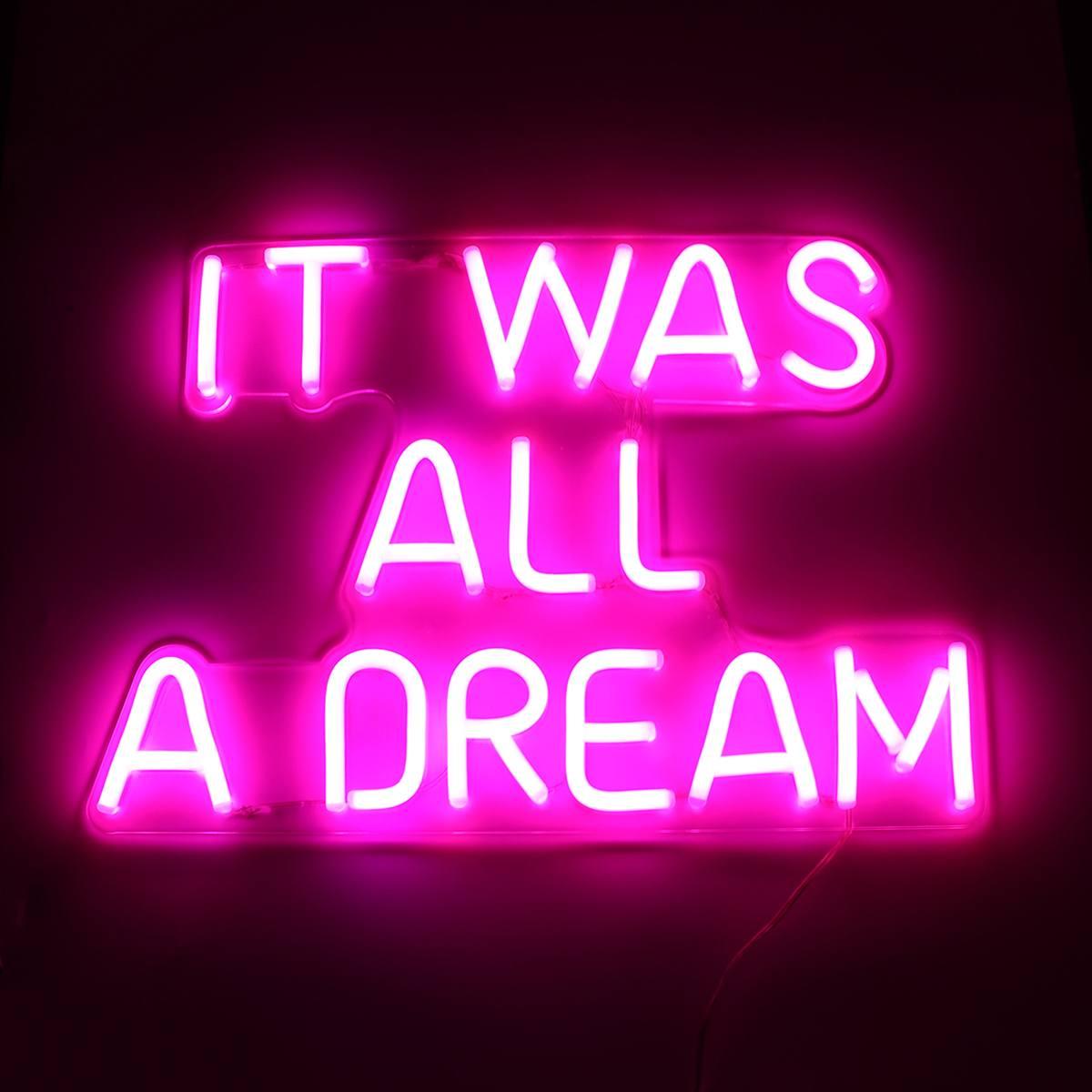 Décoration murale de barre d'illustration visuelle faite à la main éclairage Commercial ampoules au néon colorées c'était tout un Tube de lumière LED de signe de néon de rêve