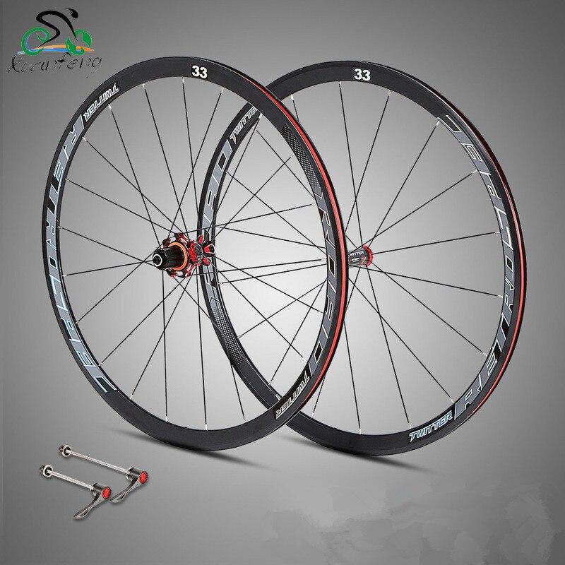 700C Ultra-leggero In Fibra di Carbonio Ruote di Bicicletta Su Strada Rim Tamburo 8 ~ 11 s 33 cerchi Sigillato Cuscinetto Ruote da corsa wheelset Cerchi