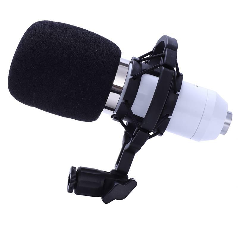 BM 800 Karaoke Capacitor Microphone With Shock Mount Condenser Microphone Mic Kit For Radio Sound Recording KTV Singing(White)