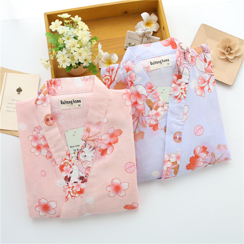 Japan Kimono Lovely Flowers Pure Cotton Women Pajamas Set Homewear Ropa Loose Bathrobe Yukata Japanese Traditional Clothing New