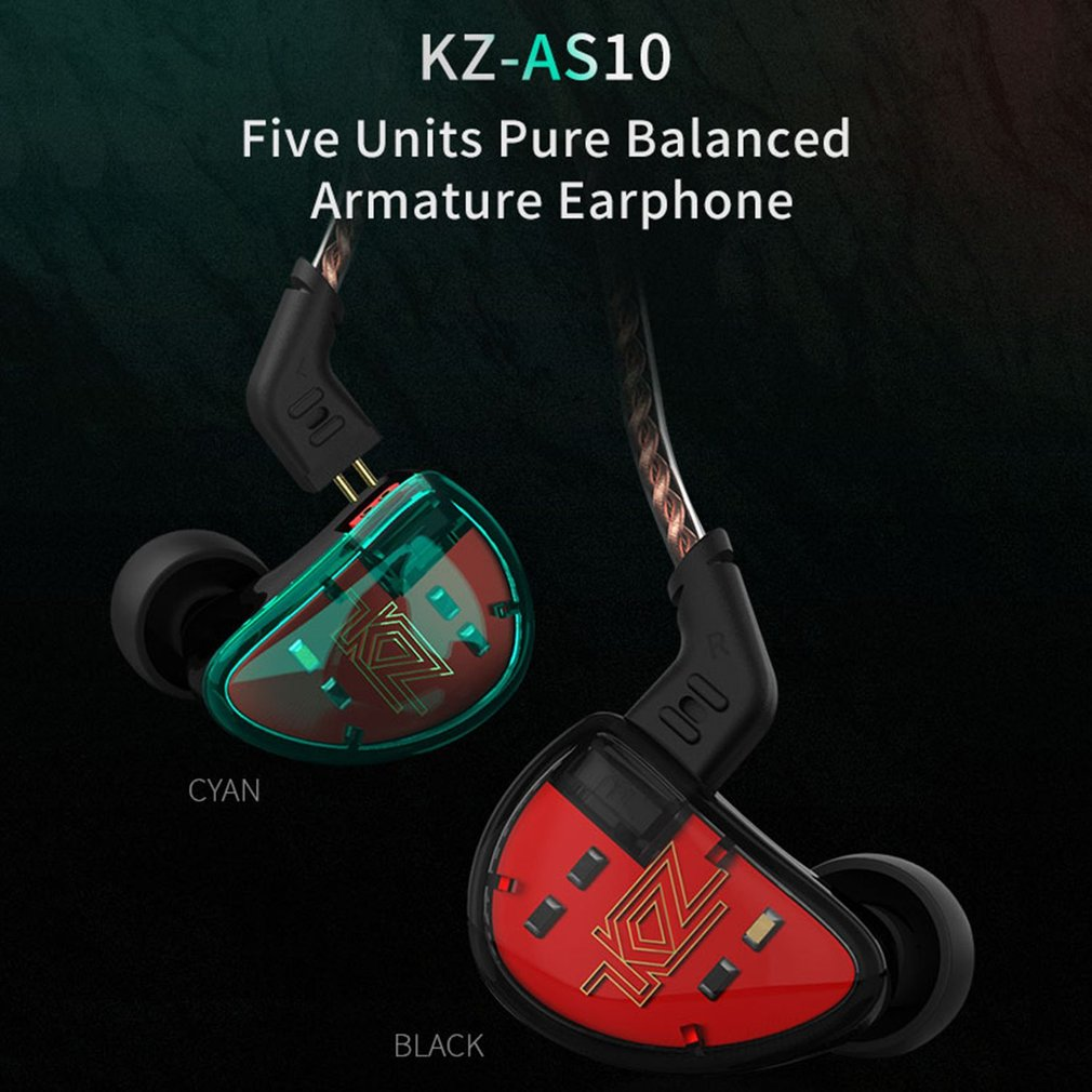KZ AS10 5BA unidad en el auricular del oído 5 armadura equilibrada desmontable separar 2Pin Cable DJ HIFI Monitor auricular KZ ZS10 KZ BA10 - 2