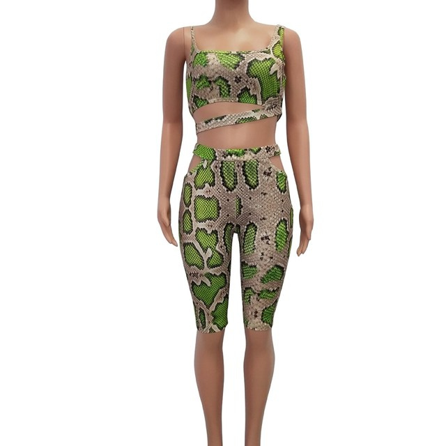 Fashion Women Snake Print Two Piece Set Hollow Out Skinny Crop Top And Short Pants Sleeveless Summer Sexy Club Outfits