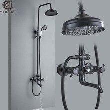 """Sistema de torneira do chuveiro do banheiro preto 8 """"chuvas banho chuveiro mixer torneira bica giratória barra deslizante coluna do chuveiro montagem na parede"""