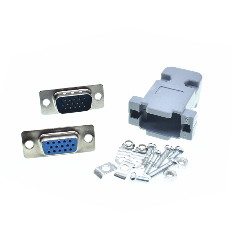 DB15 3Rows Parallel VGA Port HDB9 15 Pin D Sub Male Female Solder Connector Plastic Shell Cover