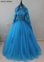 Арабское голубое мусульманское бальное платье Свадебные платья с длинными рукавами с высоким воротом кружева бисером исламское платье при