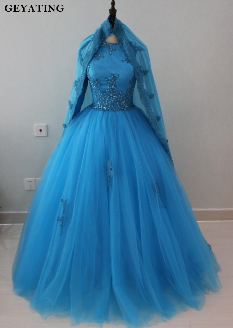 Arabia Blue Muslim Ball Gown Wedding Dresses Long Sleeves High Neck Lace Beaded Islamic Princess Wedding Dress With Hijab 2019