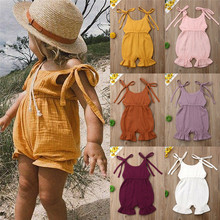 PUDCOCO Newborn Kids Baby Girl Summer Solid Cotton Romper Jumpsuit Outfits