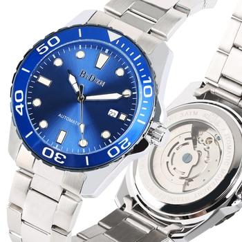 Männer Uhren Automatische-self-winding Mechanische Uhren Edelstahl Band Kalender Funktion Business Stil Uhr reloj