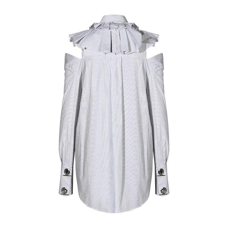 Off Patchwork Épaule White Manches Femelle Longues Irrégulière Volants Coréenne E342 Tops Femmes Out Blouse Chemises Printemps 2019 Creux fB4q48CI