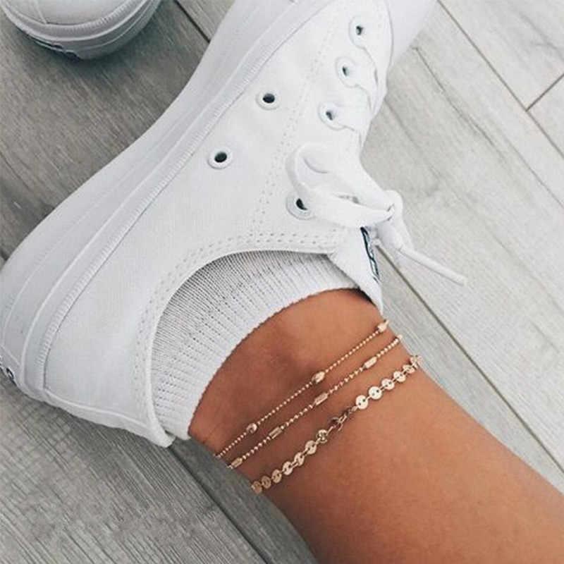 3 ชิ้น/เซ็ต Gold Silver สีลูกปัดสร้อยข้อเท้าสำหรับผู้หญิงสร้อยข้อมือแฟชั่นขาเท้าโบฮีเมียเครื่องประดับ