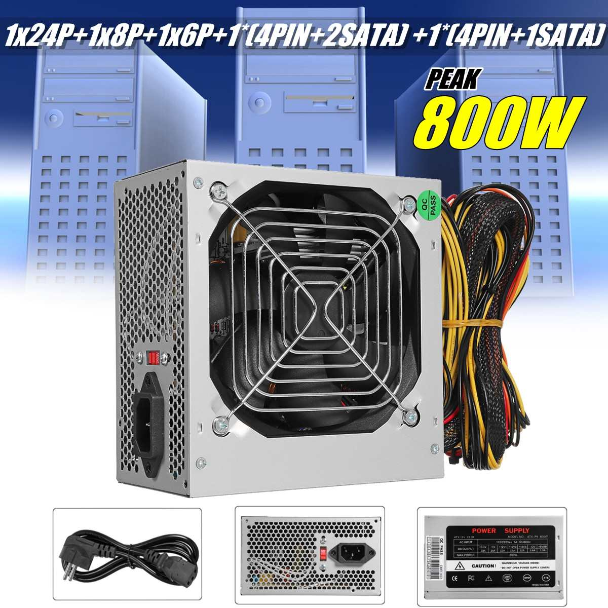 Max 800W Power Supply PSU PFC Silent Fan ATX 24 PIN 12V PC Computer SATA Gaming