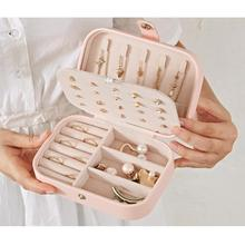 Korean Style Girl Jewelry Box Portable Earrings Plate PU Leather Earrings Ring Necklace Jewelry Storage Box Organizer Case europe style creative travel portable jewelry box earrings jewelry receiving box pu storage organizer double deck removable box