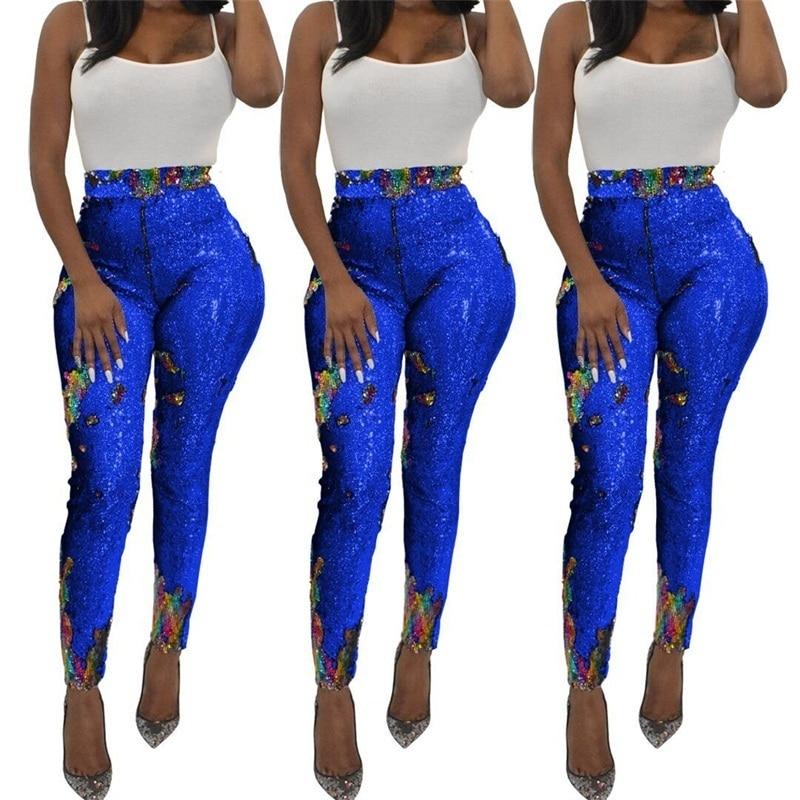 Negro Mujeres Cremallera Pantalones Alta Cintura De Lápiz Lentejuelas Brillo Mujer Metálico silver azul Pitillo Las YnX7qw