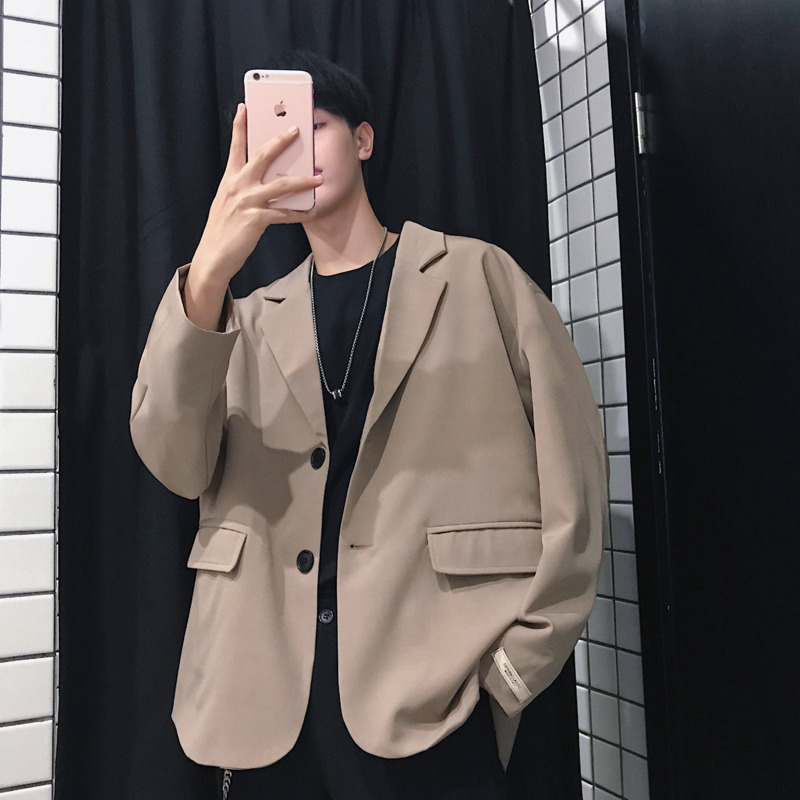 2019 Spring And Summer New Men's Youth Japanese Version Of Harajuku Style Couple Loose Casual Solid Color Small Suit Jacket M-xl