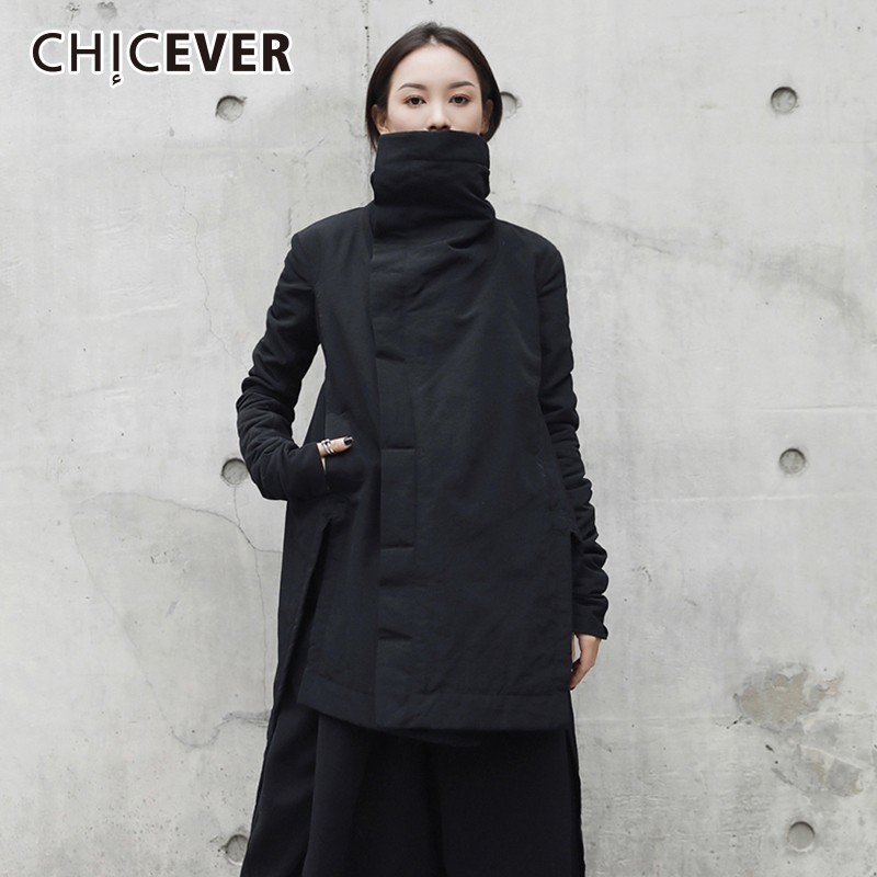 CHICEVER Winter Women s Park Coat Female Jackets Turtleneck Long Sleeve Asymmetric Hem Black Jacket Fashion
