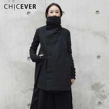 CHICEVER Winter Women's Park Coat Female Jackets Turtleneck Long Sleeve Asymmetric Hem Black Jacket Fashion Clothing Tide - DISCOUNT ITEM  39% OFF All Category