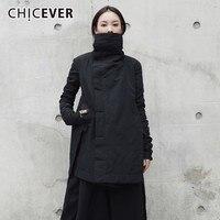 CHICEVER Winter Women's Park Coat Female Jackets Turtleneck Long Sleeve Asymmetric Hem Black Jacket Fashion Clothing Tide