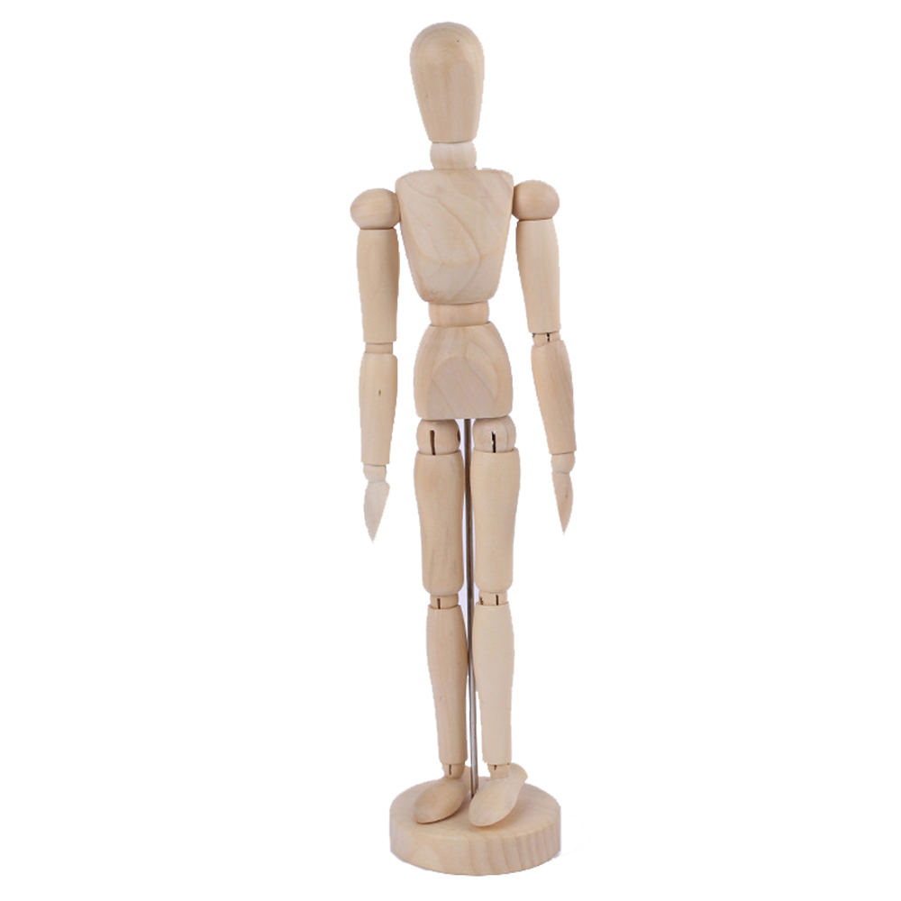Drawing Manikin Wooden Mannequin Wood Artist Figure Doll Model with Flexible Posable Joints for Sketching Charcoal Home Office Desk Decoration Children Toys Gift 12Male