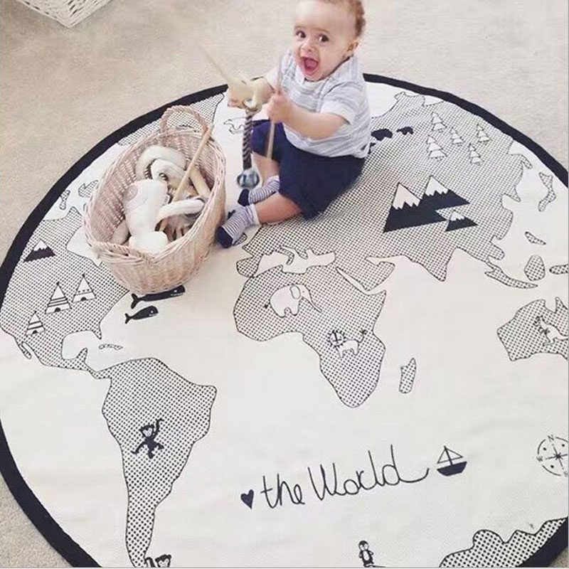 Large Size 135CM Activity Play Mat With World Map For Kids Toddler Infant Educational Folding Cotton Circle Playmat Carpet For B